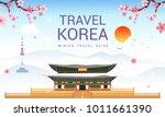 travel korea template vector... | Shutterstock .eps vector #1011661390