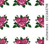seamless wallpaper pink roses    Shutterstock .eps vector #1011663748