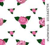 seamless wallpaper pink roses    Shutterstock .eps vector #1011663754