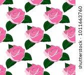 seamless wallpaper pink roses    Shutterstock .eps vector #1011663760