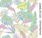 pastel color jungle seamless... | Shutterstock .eps vector #1011676849