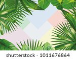 exotic spring frame of tropical ... | Shutterstock .eps vector #1011676864