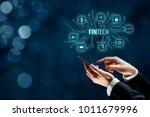 fintech  financial technology ... | Shutterstock . vector #1011679996