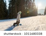 young woman snowboarding on the ... | Shutterstock . vector #1011680338