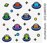 ufo aliens collection pattern ... | Shutterstock .eps vector #1011680533