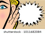 woman holds her hand near ear... | Shutterstock .eps vector #1011682084