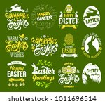 happy easter set. stylized ... | Shutterstock .eps vector #1011696514