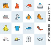clothes icons colored line set...   Shutterstock .eps vector #1011697948