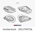 hand drawn oysters set.... | Shutterstock .eps vector #1011703726