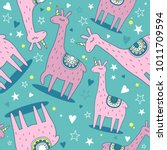 seamless pattern with lamas ... | Shutterstock .eps vector #1011709594