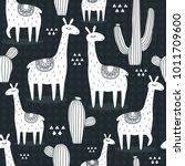 lamas  cactuses  hand drawn... | Shutterstock .eps vector #1011709600