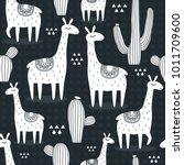 Lamas  Cactuses  Hand Drawn...