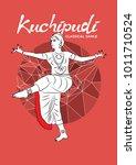 dancer performing indian dance. ... | Shutterstock .eps vector #1011710524