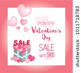 valentine's day sale background ... | Shutterstock .eps vector #1011718783