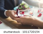 young couple having romantic... | Shutterstock . vector #1011720154