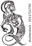 capricorn zodiac sign . tribal... | Shutterstock .eps vector #1011721750