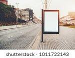 empty banner mock up on city... | Shutterstock . vector #1011722143