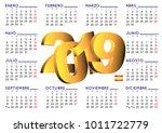 calendario 2019. 2019 elegant... | Shutterstock .eps vector #1011722779