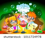 boy and girl do science... | Shutterstock .eps vector #1011724978