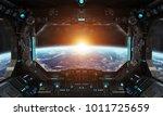 spaceship grunge interior with... | Shutterstock . vector #1011725659