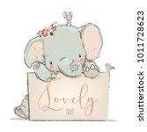 little lovely elephant with... | Shutterstock .eps vector #1011728623