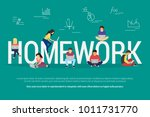 homework and learning concept... | Shutterstock .eps vector #1011731770