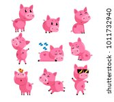 set of cute little pig in... | Shutterstock .eps vector #1011732940
