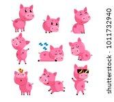 set of cute little pig in... | Shutterstock .eps vector #1011732940