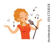 girl singing with microphone ... | Shutterstock .eps vector #1011733018