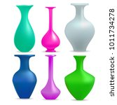 realistic vases set  isolated... | Shutterstock .eps vector #1011734278