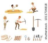 Cartoon Flat Icons Set With...