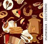 russian cuisine seamless... | Shutterstock .eps vector #1011735040
