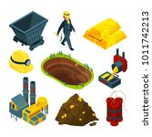 isometric tools for mining... | Shutterstock .eps vector #1011742213