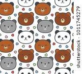 cute panda and bear seamless... | Shutterstock .eps vector #1011745279