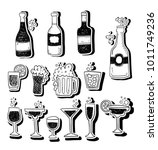 alcohol doodle stickers set | Shutterstock .eps vector #1011749236