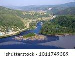 Confluence of the Yukon and Klondike rivers in Dawson City in Yukon, Canada