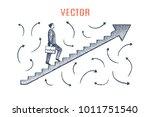 entrepreneur goes up arrow.... | Shutterstock .eps vector #1011751540