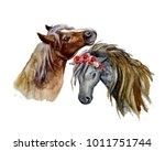 Stock photo watercolor horse with flowers on the white background 1011751744