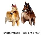 Stock photo watercolor horse with flowers on the white background 1011751750