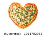 Pizza on the heart shaped pizza ...