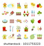 spring and gardening tools... | Shutterstock .eps vector #1011753223