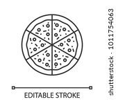 pizza linear icon. thin line... | Shutterstock .eps vector #1011754063