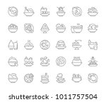 collection of line gray icons... | Shutterstock .eps vector #1011757504