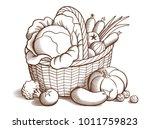 big basket of fresh ripe... | Shutterstock . vector #1011759823