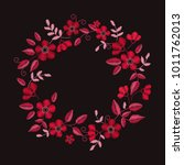 floral embroidery wreath with... | Shutterstock .eps vector #1011762013