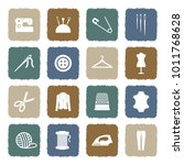 sewing icons. grunge color flat ... | Shutterstock .eps vector #1011768628