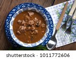goulash soup with pork and... | Shutterstock . vector #1011772606