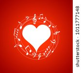 heart shaped frame with music... | Shutterstock .eps vector #1011777148
