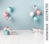 Stock photo  d interior illustration with blue white and pink balloons and gift boxes glossy composition 1011781753