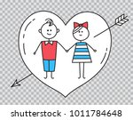 happy valentines card. guy and... | Shutterstock .eps vector #1011784648
